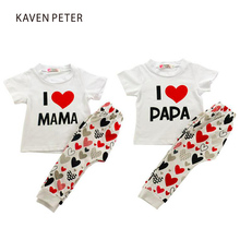 Baby clothes set boy garments set lady summer time sportswear youngsters letter print cotton t-shirt pants 2pcs set children pajama set