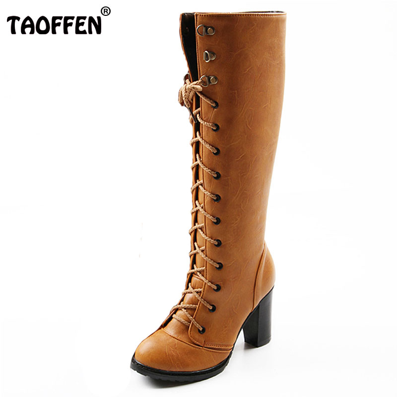 TAOFFEN women high heel over knee boots ladies riding long snow boot warm winter botas heels footwear shoes QLB009 size 34-43