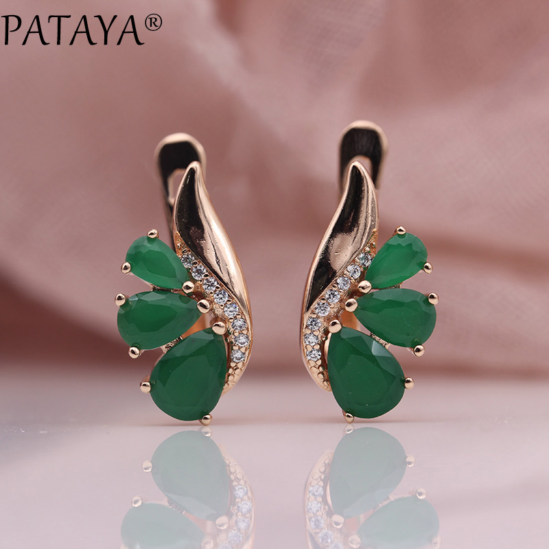 PATAYA New Wedding Party Earrings Women Fashion Fine Jewelry 585 Rose Gold Green Three Water Drop Natural Zircon Dangle Earrings