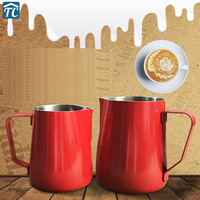 600ml Teflon Coffee Pull Cup Flower Cylinder Frothing Jug Non stick Coating Stainless Steel Milk Tank Tip Embossing Latte Tools