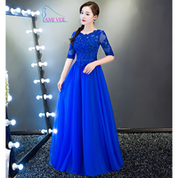 Robe De Soirée Royal Azul Festoneado de Cuentas de Encaje Media Manga Vestidos de Noche de Plata Longo Prom Party Formal vestido de Novia FestaCS115