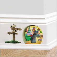 DIY Cartoon Animals 3 Styles Funny Mouse Hole Wall Stickers Corner Door Decoration Kids Room Decor Gifts Free Shipping