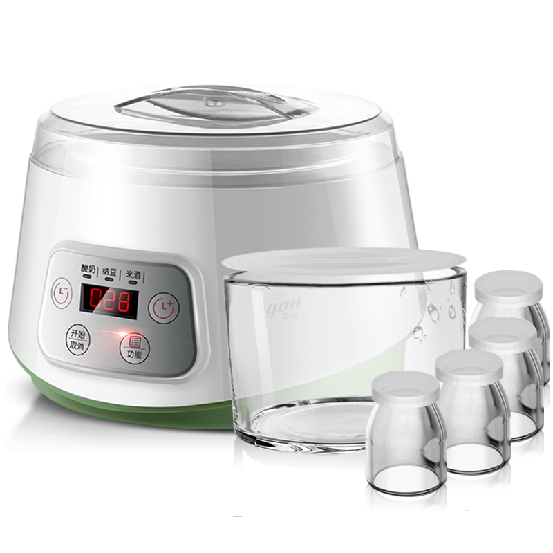Fully Automatic Yogurt Makers Machine Household Multifunctional White Natto Rice Wine Machine with Four Glass Liner Sub-cup purple yogurt makers rice wine natto machine household fully automatic yogurt glass sub cup liner multifunctional kitchen helper