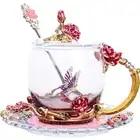 1 Set Rood blauw rose carving, emaille kleur, Luo poëzie thee cup, Bloem Thee Koffie Glas Cups, crystal hittebestendig creative geschenken - 1