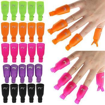 10Pcs Plastic Manicure Nail Art Polish Soak Off UV Gel Remover Clip Cap Hot 1