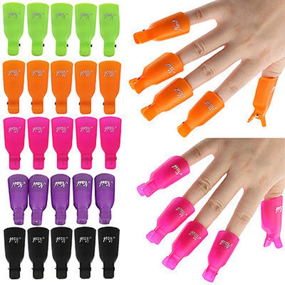 10Pcs Plastic Manicure Nail Art Polish Soak Off UV Gel Remover  Clip Cap Hot