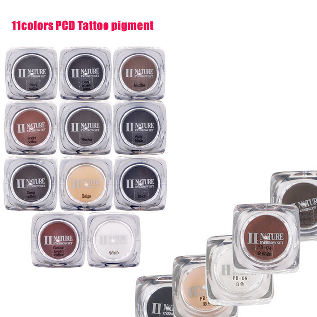 Excellent PCD Permanent Makeup Ink Eyebrow Tattoo Ink Set 10ML 11 Colors Lip Microblading Pigment Professional