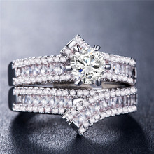 Huitan 2PC Solitaire Couple Ring Set Luxury Silver Gold Rose Color Romantic Bridal Sets For Femme With Dazzling Stone