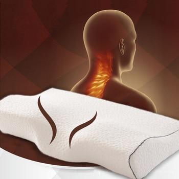 Almohada ortopédica suave de látex magnética de 50*30CM de Color blanco para el cuello almohada de espuma de memoria de rebote lento cuidado de la salud Cervical alivio del dolor