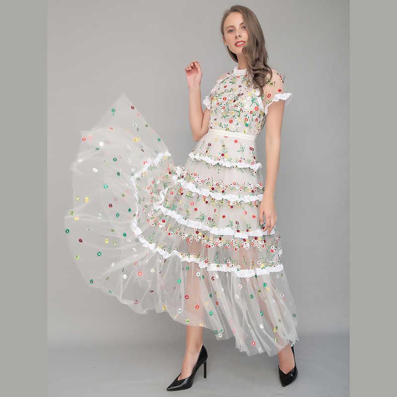 866fff39e0be7b6 Оптовая и розничная продажа, 2018 летнее платье с вышивкой и короткими  рукавами, Сетчатое женское