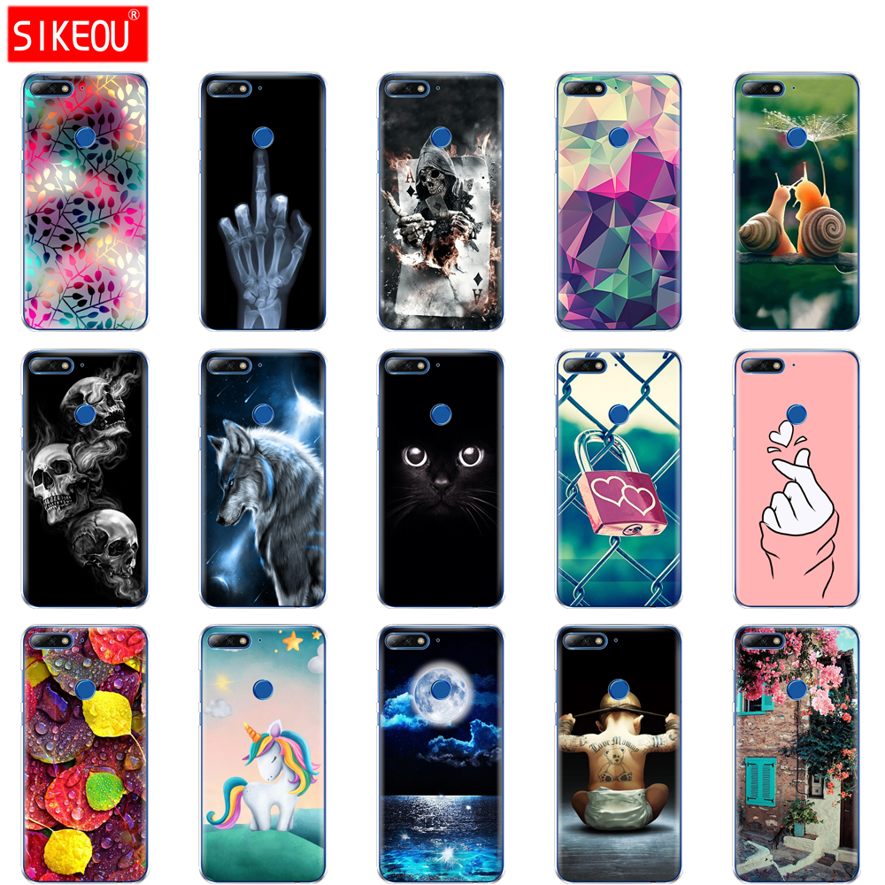 cover phone <font><b>case</b></font> for <font><b>huawei</b></font> <font><b>Y7</b></font> <font><b>2018</b></font>/<font><b>Y7</b></font> Prime <font><b>2018</b></font> soft tpu <font><b>silicone</b></font> back cover 360 full protective printing coque Cat flower image