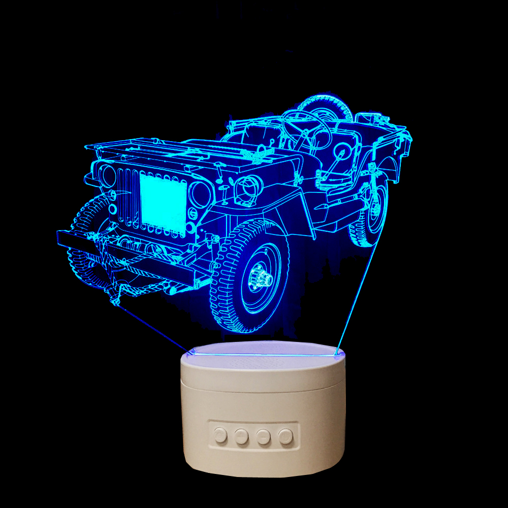LED Vintage Car 3D Night Light Bluetooth Speaker Music USB Table Lamp Kid's Bedroom Atmosphere Lamp As Gift yiyang usb rechargeable multicolor shell led music night light bedroom atmosphere desk lamp wireless bluetooth player speaker