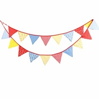 High Quality 4 1M 18 Flags Cotton Banner Colorful Garland Bunting Wedding Decoration 1st Birthday Baby