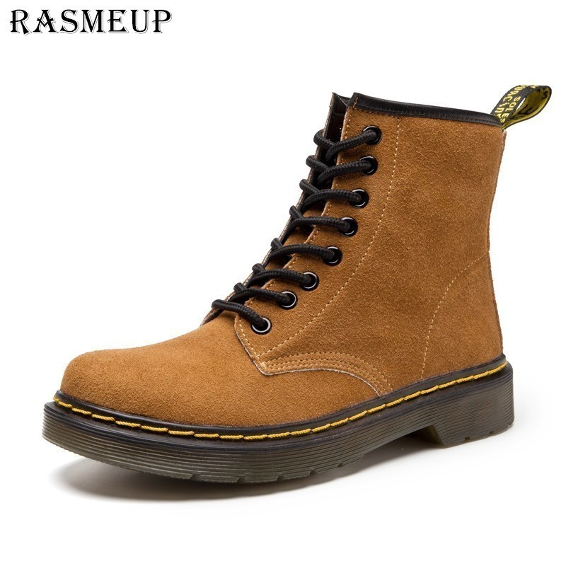 RASMEUP Genuine Suede Leather Women's Martin Boots 2018 Autumn Fashion Women Ankle Boots Casual Woman Lace Up Shoes Plus Size shoes woman genuine leather ankle boots flats shoes autumn boots suede leather 35 40 lace up free shipping bassiriana