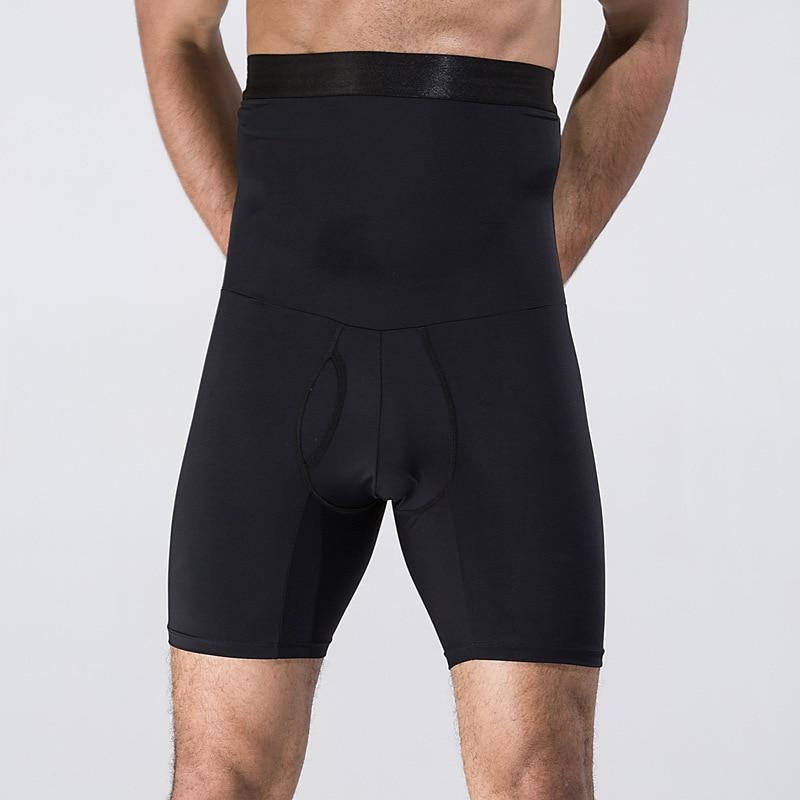 Men's Body Shaper Pants High Waist Trainers Slimming Panties Belly Abdomen Fat Drawing Fitness Underwear Shape Wear Black White