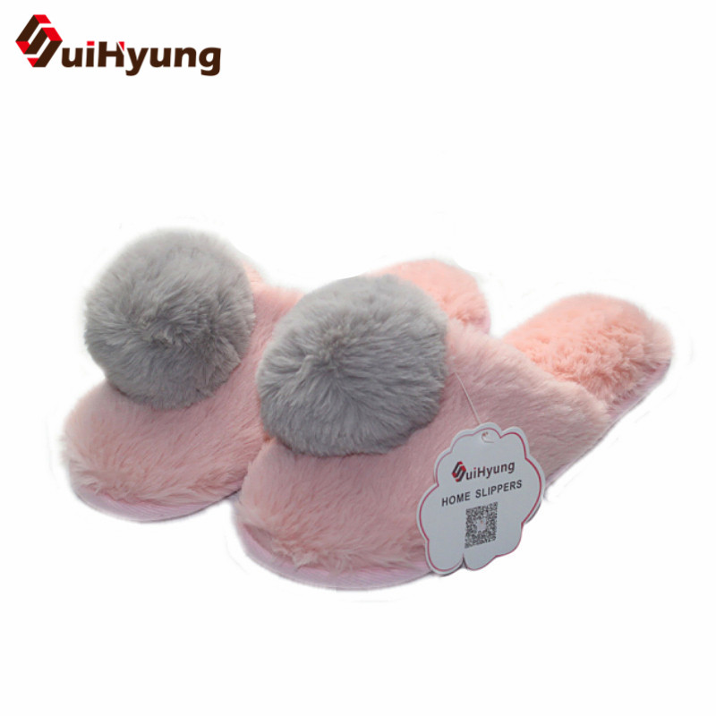 Suihyung Women Winter Warm Home Slippers Furry Big Hairball Plush Flat Slippers Indoor Shoes Female House Bedroom Floor Slippers suihyung funny rabbit shape women winter home slippers plush indoor floor shoes female warm furry soft bottom slippers chinelos