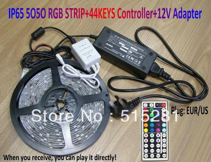ФОТО SMD 5050 RGB Waterproof IP65 300 LED Strip Light+44Keys IR Remote Controller+12V 5A Power Adapter full set Good quality