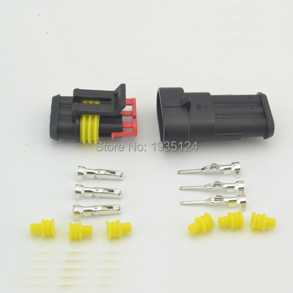 free shipping good quality 100sets 3pin auto AMP connector 282087 1 282105 1 connector