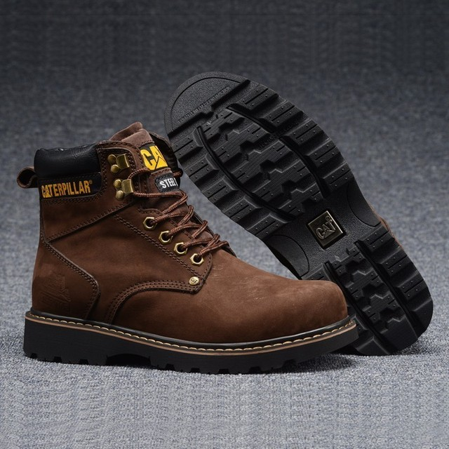 Cat Footwear Men Classic Dark Coffee Cow Leather Casual Shoes Brown