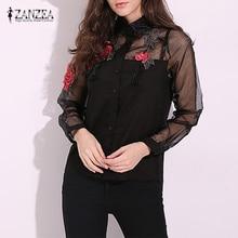 ZANZEA Blusas Femininas 2017 Summer Elegant Women Blouse Flower Embroidery Vintage Shirts Blouses Organza Sleeve Tops
