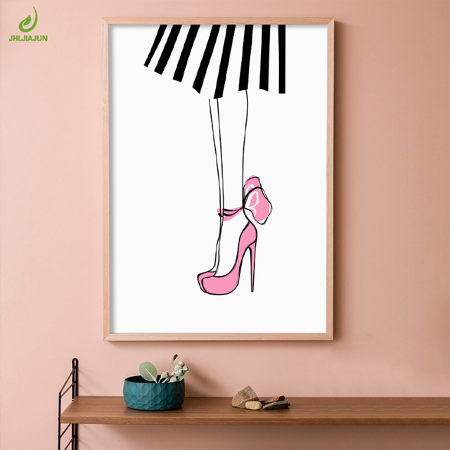 JHLJIAJUN Canvas Painting Pink High Heeles Shoes Girl Simple Nordic Wall Art Picture For Living