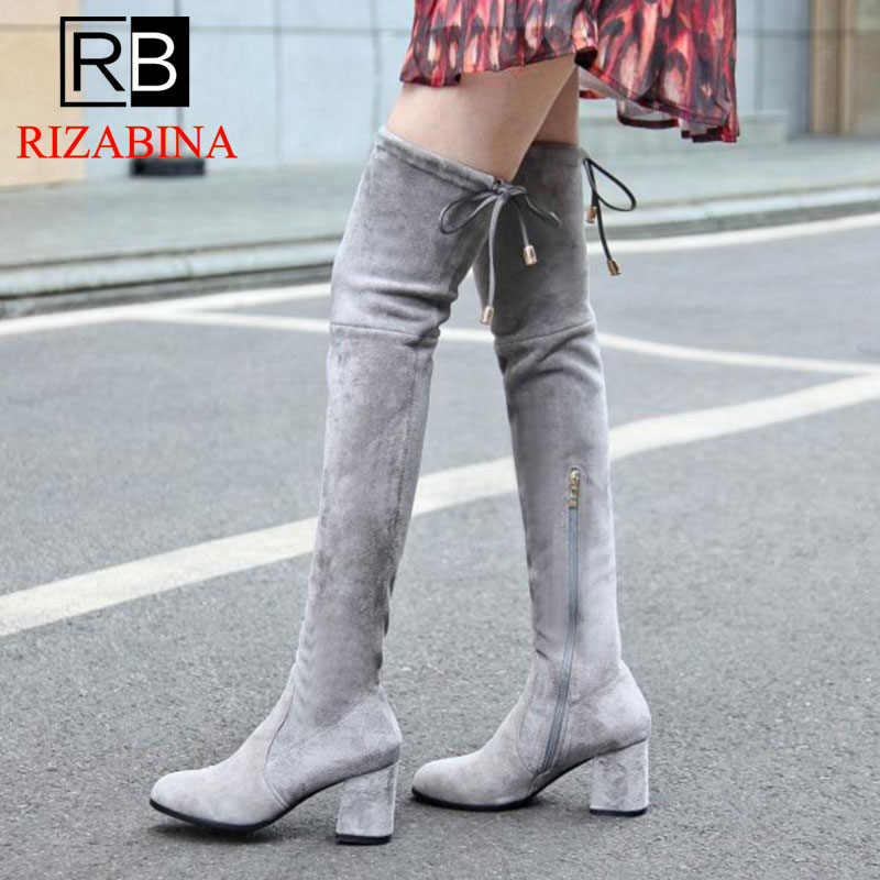 RizaBina Size 34-43 Winter Real Leather Elastic Shoes Women Thick High Heel Over Knee Boots Female Warm Thigh High Winter Botas цена