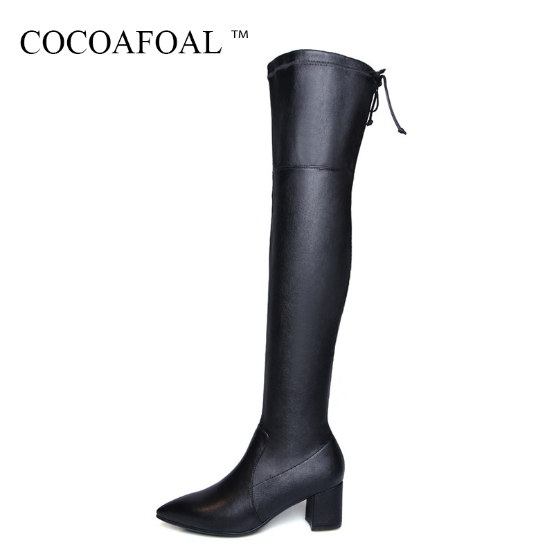 COCOAFOAL Genuine Leather High Heeled Over The Knee Boots Winter Chelsea Thigh High Boots Plus Size 41 Fashion Black Women Shoes cocoafoal women sexy black high heeled shoes genuine leather thigh high boots plus size 33 41 winter chelsea over the knee boots