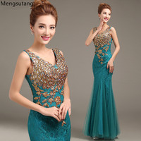 Robe De Soiree 2017 V Neck Mermaid Beading Royal Blue Gowns Evening Dresses Long Vestido De