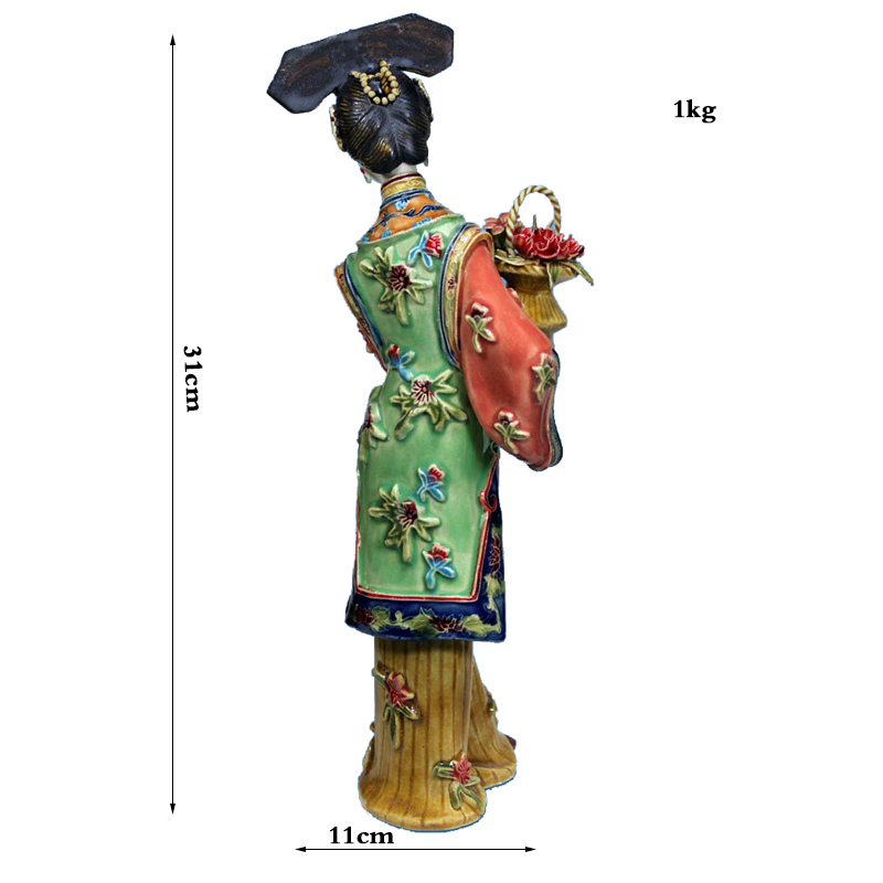 Collectible Antique Ceramic Statue of Beauty Craft Vintage Porcelain Figurine for Home Cecoration in Statues Sculptures from Home Garden