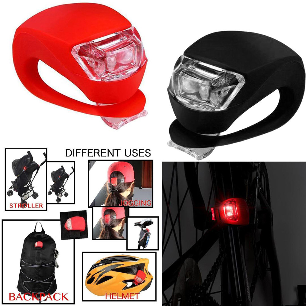 LED SILICONE MOUNTAIN BIKE BICYCLE FRONT or REAR LIGHT PUSH CYCLE LIGHT CLIP
