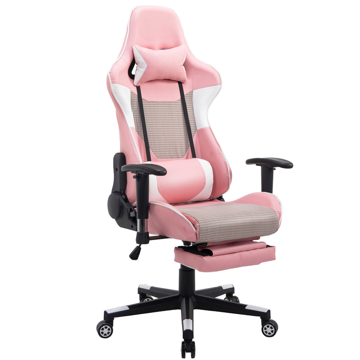 ergonomic chair with footrest red club chairs giantex modern reclining gaming high back racing