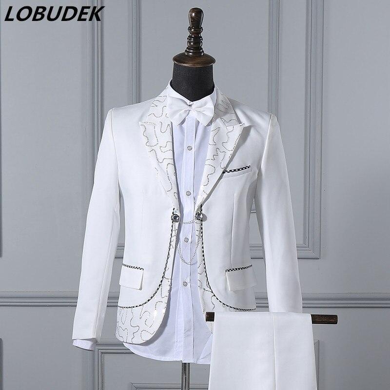 R25265 10 De Descontomasculino Ternos De Vestido De Casamento Branco Do Noivo Terno Masculino Vestido Formal Masculino Traje Do Partido Para O