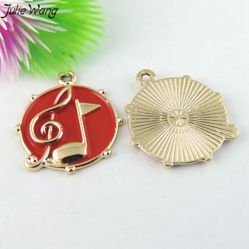 White Red Enamel Musical Notes little Pendant Charm Music Jewelry -2