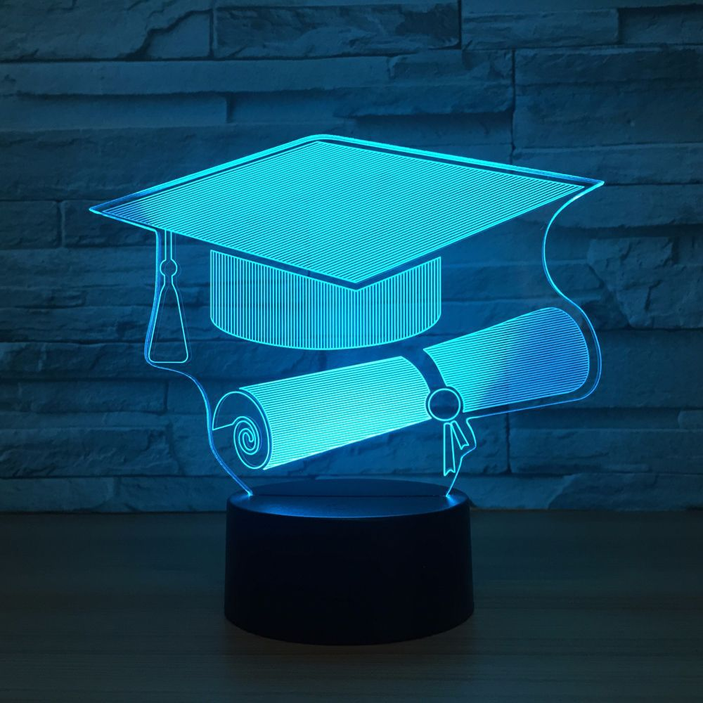 Touch Switch Doctor Cap 3D Light LED Nightlight Lamp 7 Color Changing USB Table Desk Lamp as Memorial Gift For Graduate StudentTouch Switch Doctor Cap 3D Light LED Nightlight Lamp 7 Color Changing USB Table Desk Lamp as Memorial Gift For Graduate Student