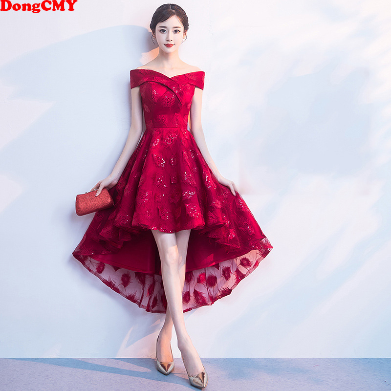 DongCMY 2019 New Bridesmaid Dresses Wine Red Elegant Bride High/Low Party Gown Elegant Dress