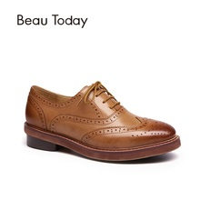 Comprobador de precios BeauToday Wingtip Oxfords zapatos de mujer zapatos de cuero genuino de cuero de piel de oveja de moda estilo Brogue de encaje de las mujeres planos de las mujeres 21062