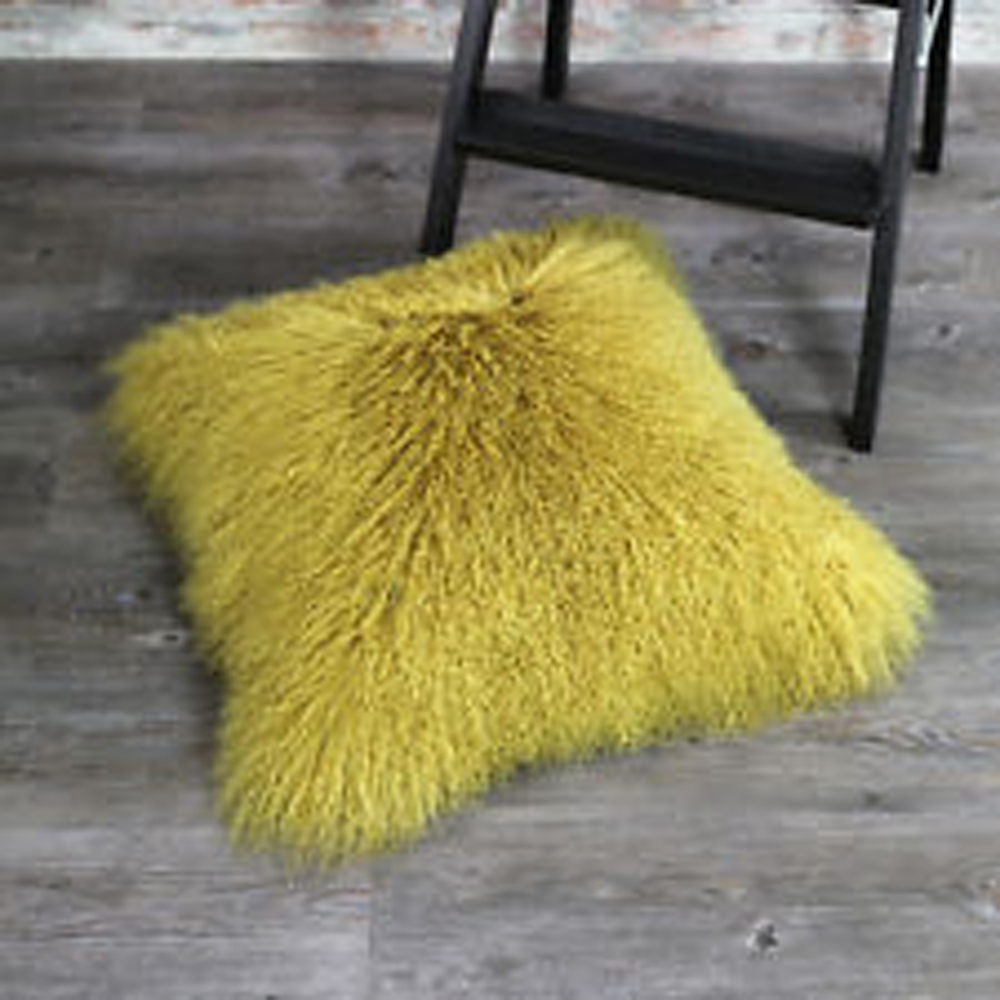 Yellow Mongolian Lamb Fur Pillow Cover Decorative Pillows