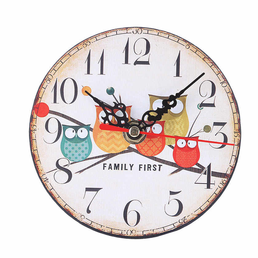 2019 Vintage cute Style Non-Ticking Silent Antique Wood Wall Clock for Home Kitchen Office #30