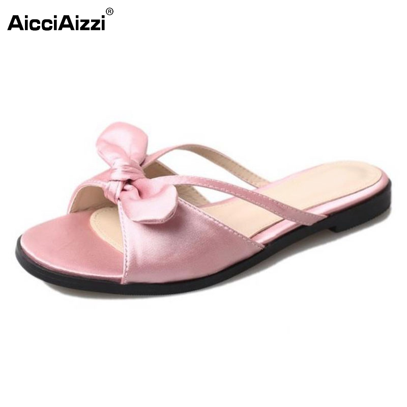 Women Sandals Women Shoes Flat Heels Summer Slippers Beach Shoes Bowtie Bowknot Casual Party Fashion Zapatos Mujer Size 35-39 new 2016 women rhinestone gladiator sandals summer flat casual shoes beach slippers size 35 39