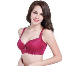 Large size lace sexy underwear 3/4 cup with steel ring detachable shoulder strap thick gathered bra free shipping