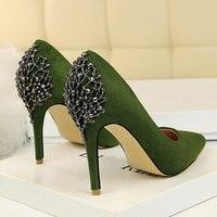 2018 Female 10cm High Heels Women Luxury Design Stiletto Metallic Pumps Pointed Toe Escarpins Green Suede Heels Pink Black Shoes