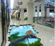 3d floor painting wallpaper 3D high-altitude single-wood bridge cheetah floor painting pvc self-adhesive wallpaper