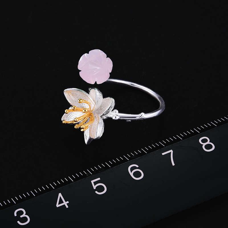 Lotus Vui Thật Nữ Bạc 925 Thạch Anh Hồng Thiên Nhiên Handmade Mỹ Trang Sức Nhẫn Hoa Sen Thì Thầm Cho Nữ, Nhẫn Nữ BIJOUX