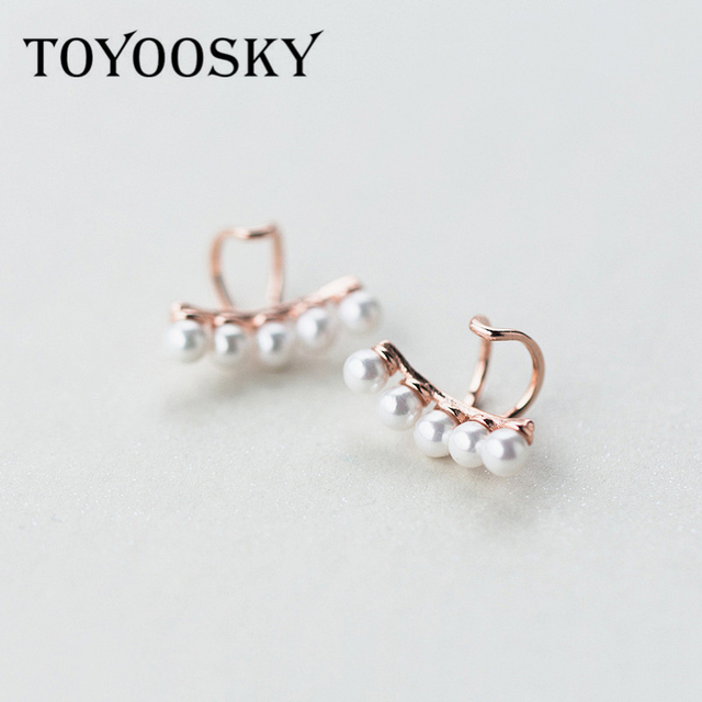 Toyoosky 925 Sterling Silver S Pearls Ear Cuff Clip On Earrings For Women Fashion Without