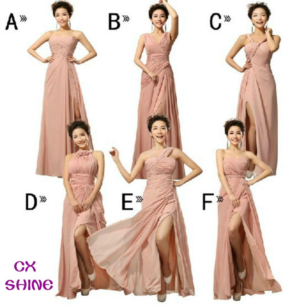 Cx shine chiffon split long bridesmaid dresses custom colors mix style cheap wedding prom dress party