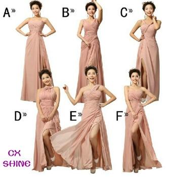 CX SHINE Chiffon Split long Bridesmaid Dresses Custom colors Mix style cheap wedding Prom Dress party dress plus size Vestidos