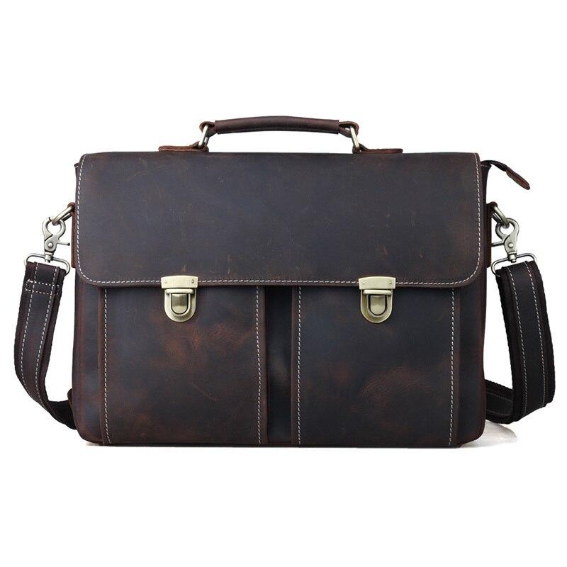 Vintage Genuine Cow Leather Men Briefcase Business Bag Handbag Fit For 14 Inch Laptop PR081119 men business handbag genuine leather classic black briefcase fit for 16 inch laptop office bag pr583820
