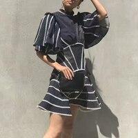 Summer Dress 2019 New Sexy Backless Women's Dress Fashion Striped Stitching Sleeves Slim Women's Casual Dress