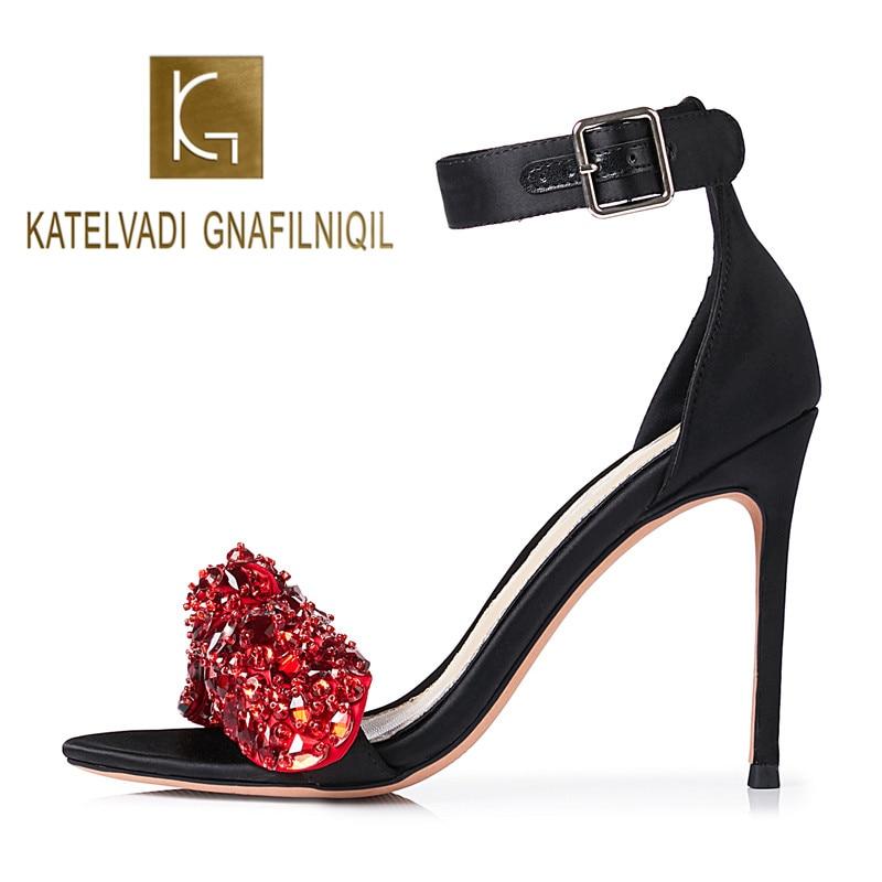 KATELVADI 2019 Women Sandals Shoes Black Satin Red Crystal Buckle Sandals 10CM High Heels Shoes Woman