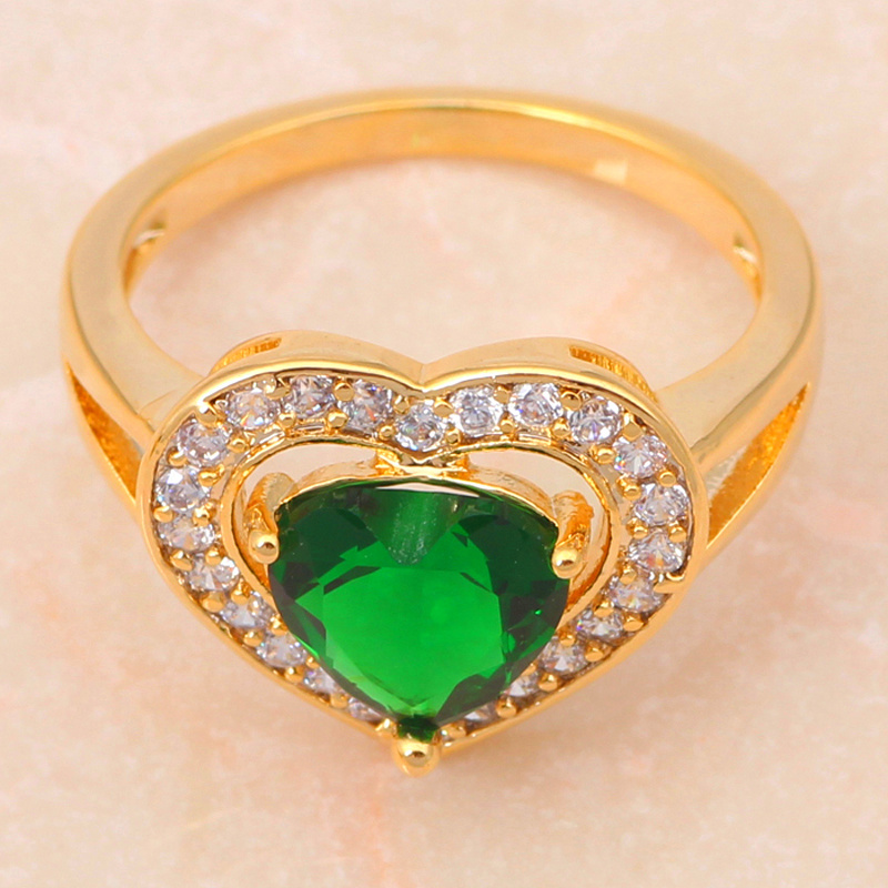 Zircon Heart gold color Green Crystal Jewelry Sets Earrings Necklace Ring sz #6.5 #7.5 #8.5 Fashion Jewelry JS287A